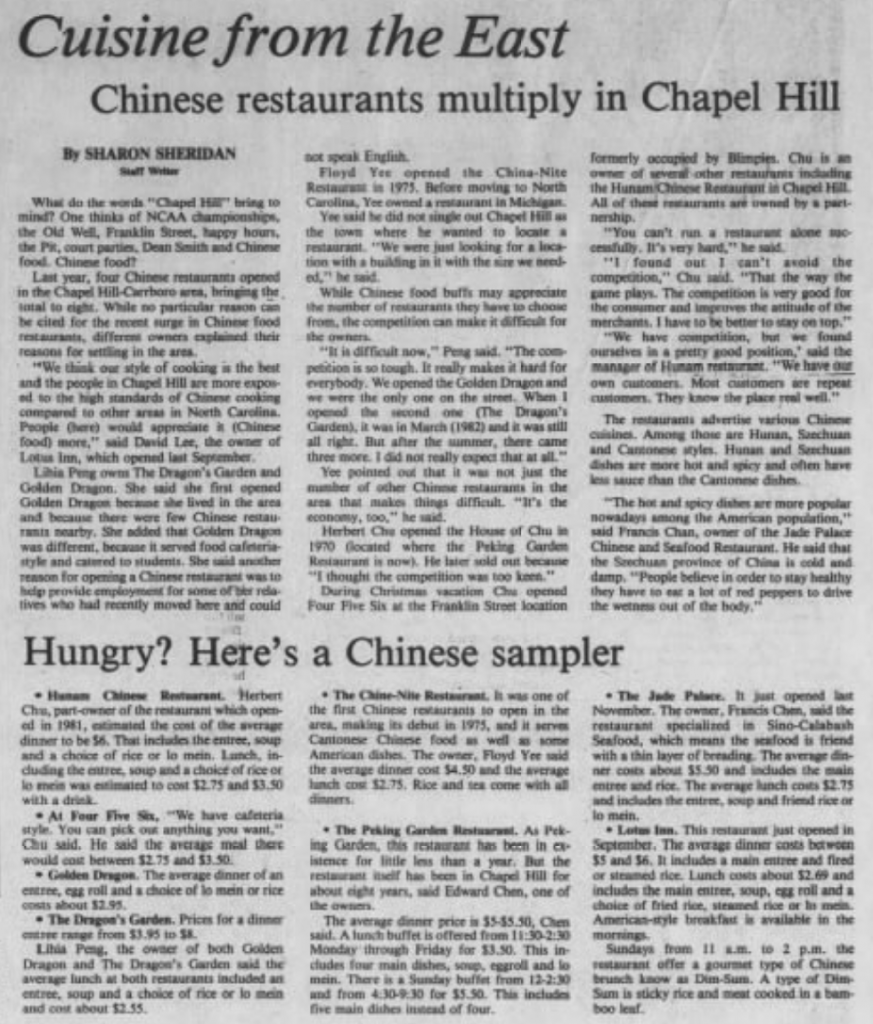 The Expansion Of Chinese Restaurants In Chapel Hill During